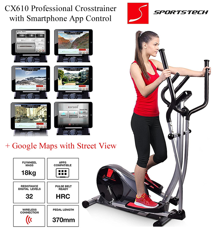 Elliptical Cross Trainer with Smart App Control and Google Maps Street View
